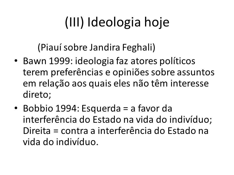 (III) Ideologia hoje (Piauí sobre Jandira Feghali) Bawn 1999: ideologia faz atores políticos terem preferências e opiniões sobre assuntos em relação a