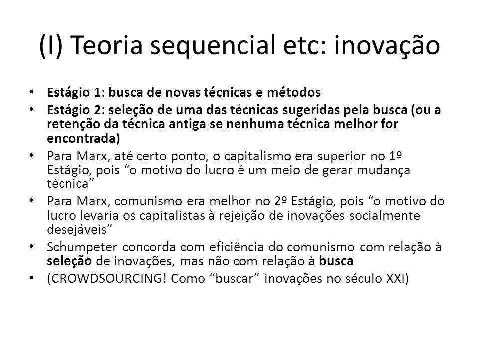 (I) Teoria sequencial etc: inovação Estágio 1: busca de novas técnicas e métodos Estágio 2: seleção de uma das técnicas sugeridas pela busca (ou a ret