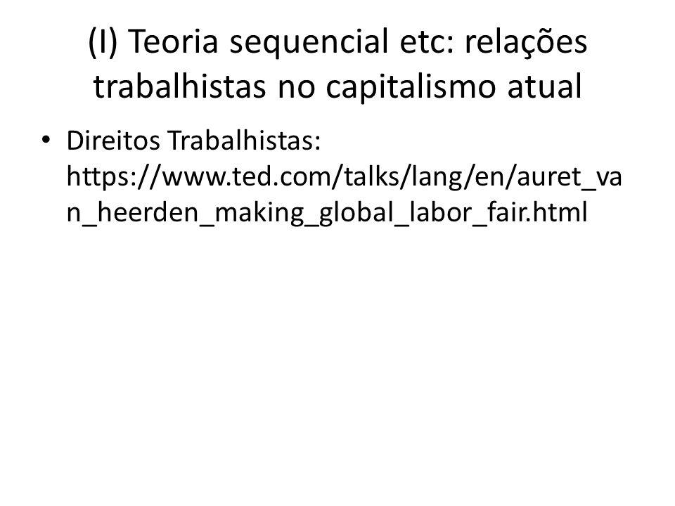 (I) Teoria sequencial etc: relações trabalhistas no capitalismo atual Direitos Trabalhistas: https://www.ted.com/talks/lang/en/auret_va n_heerden_maki