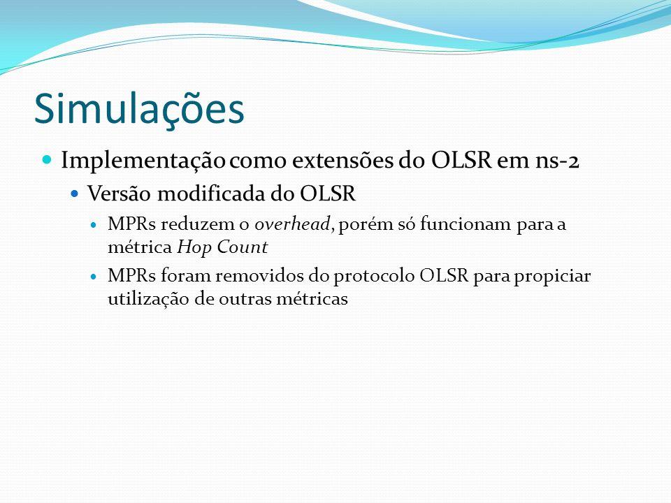 Simulações Implementação como extensões do OLSR em ns-2 Versão modificada do OLSR MPRs reduzem o overhead, porém só funcionam para a métrica Hop Count