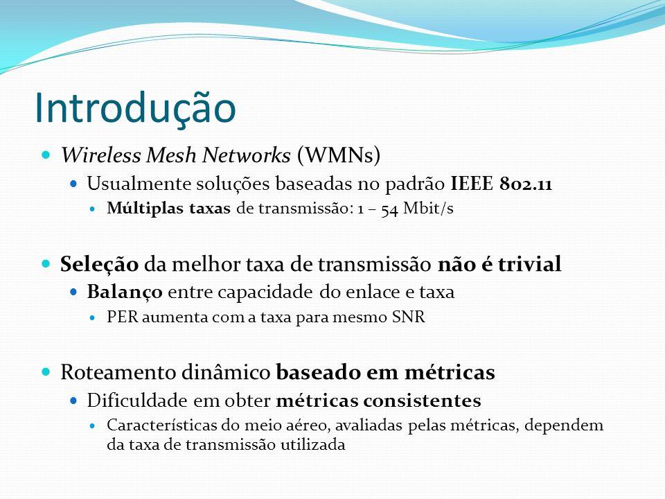 Introdução Wireless Mesh Networks (WMNs) Usualmente soluções baseadas no padrão IEEE 802.11 Múltiplas taxas de transmissão: 1 – 54 Mbit/s Seleção da m