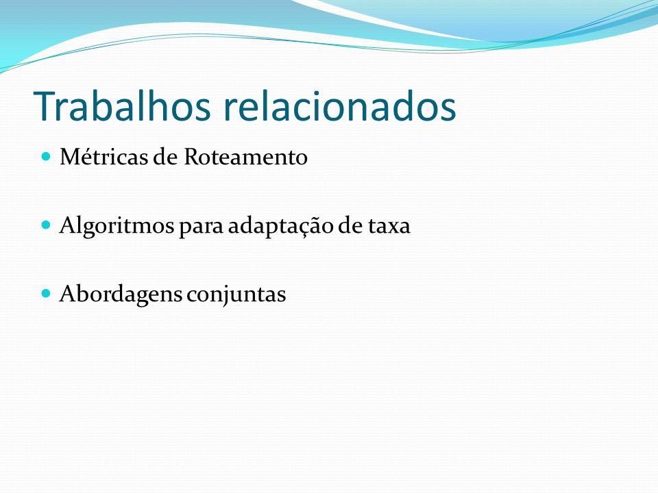 Trabalhos relacionados Métricas de Roteamento Algoritmos para adaptação de taxa Abordagens conjuntas