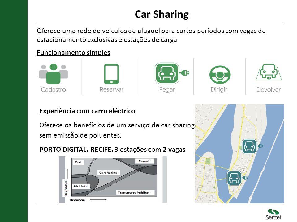 Car Sharing Oferece uma rede de veículos de aluguel para curtos períodos com vagas de estacionamento exclusivas e estações de carga Funcionamento simp