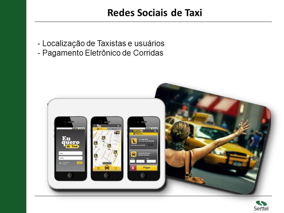 Redes Sociais de Taxi - Localização de Taxistas e usuários - Pagamento Eletrônico de Corridas