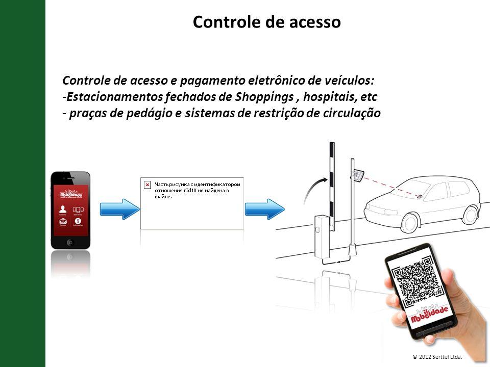 © 2012 Serttel Ltda. Controle de acesso e pagamento eletrônico de veículos: -Estacionamentos fechados de Shoppings, hospitais, etc - praças de pedágio