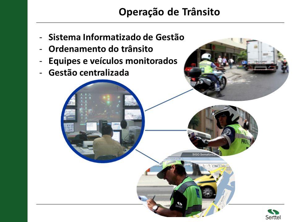 Operação de Trânsito Sistemas de Gestao -Sistema Informatizado de Gestão -Ordenamento do trânsito -Equipes e veículos monitorados -Gestão centralizada