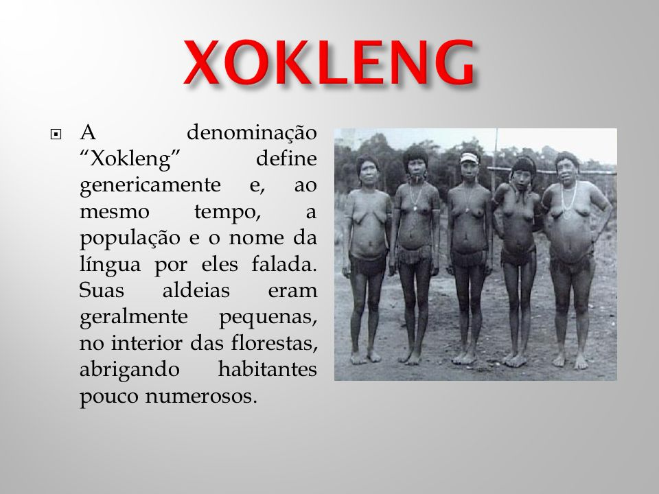A denominação Xokleng define genericamente e, ao mesmo tempo, a população e o nome da língua por eles falada.