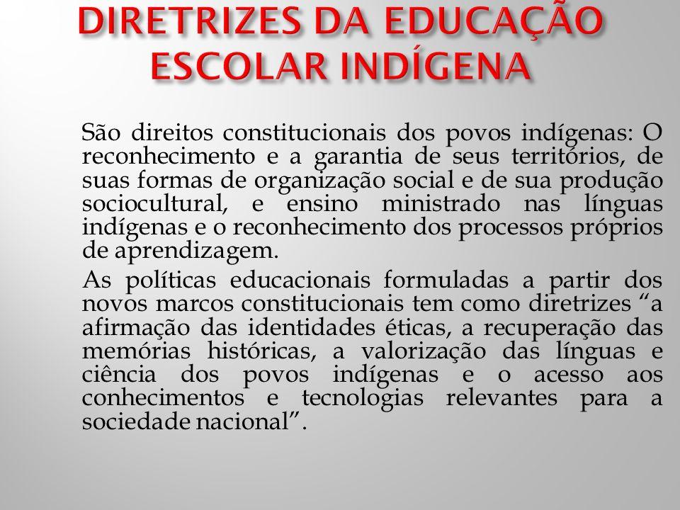 São direitos constitucionais dos povos indígenas: O reconhecimento e a garantia de seus territórios, de suas formas de organização social e de sua produção sociocultural, e ensino ministrado nas línguas indígenas e o reconhecimento dos processos próprios de aprendizagem.