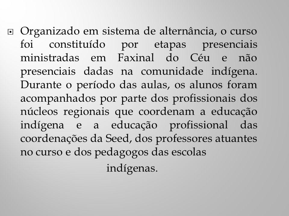 Organizado em sistema de alternância, o curso foi constituído por etapas presenciais ministradas em Faxinal do Céu e não presenciais dadas na comunidade indígena.