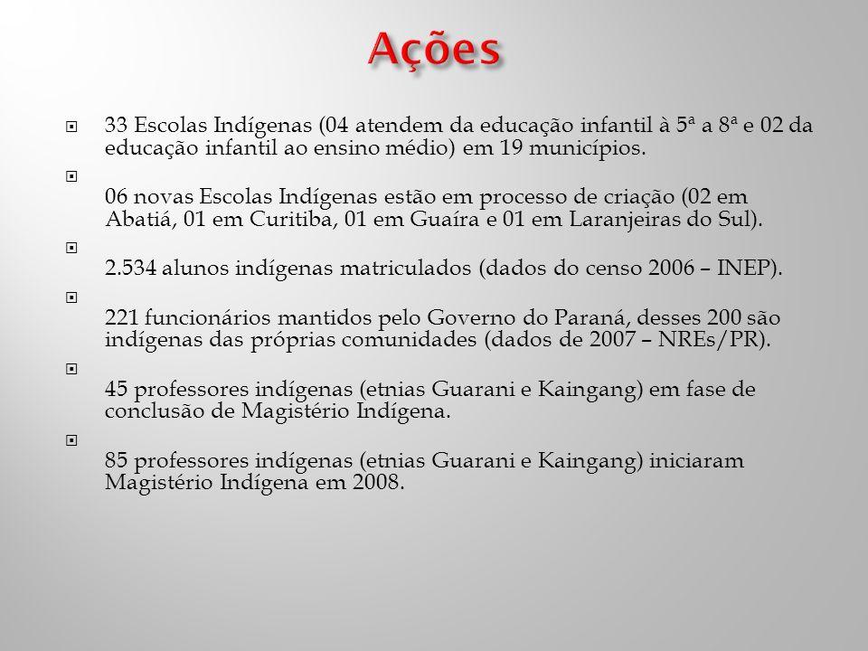 33 Escolas Indígenas (04 atendem da educação infantil à 5ª a 8ª e 02 da educação infantil ao ensino médio) em 19 municípios.
