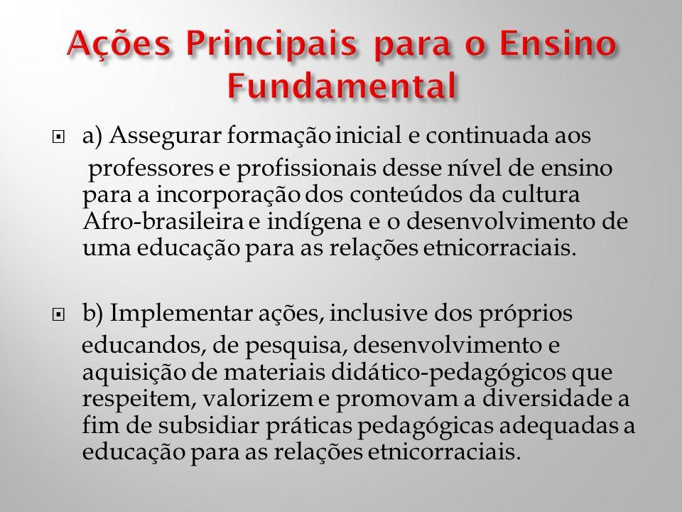 a) Assegurar formação inicial e continuada aos professores e profissionais desse nível de ensino para a incorporação dos conteúdos da cultura Afro-brasileira e indígena e o desenvolvimento de uma educação para as relações etnicorraciais.