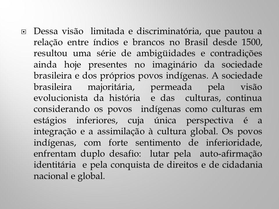 Dessa visão limitada e discriminatória, que pautou a relação entre índios e brancos no Brasil desde 1500, resultou uma série de ambigüidades e contradições ainda hoje presentes no imaginário da sociedade brasileira e dos próprios povos indígenas.