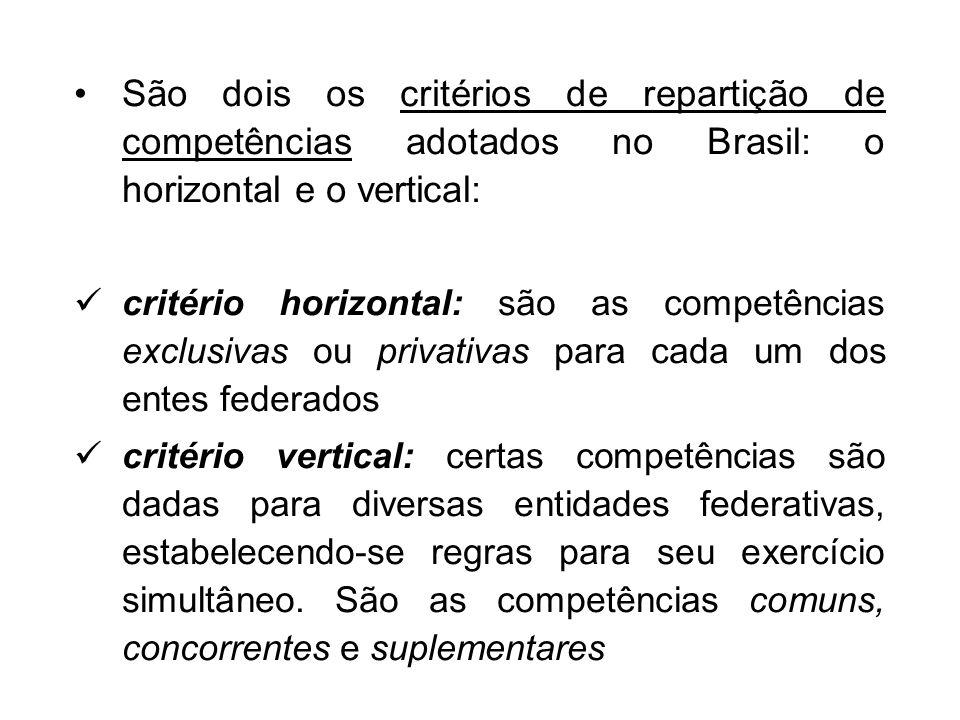 São dois os critérios de repartição de competências adotados no Brasil: o horizontal e o vertical: critério horizontal: são as competências exclusivas