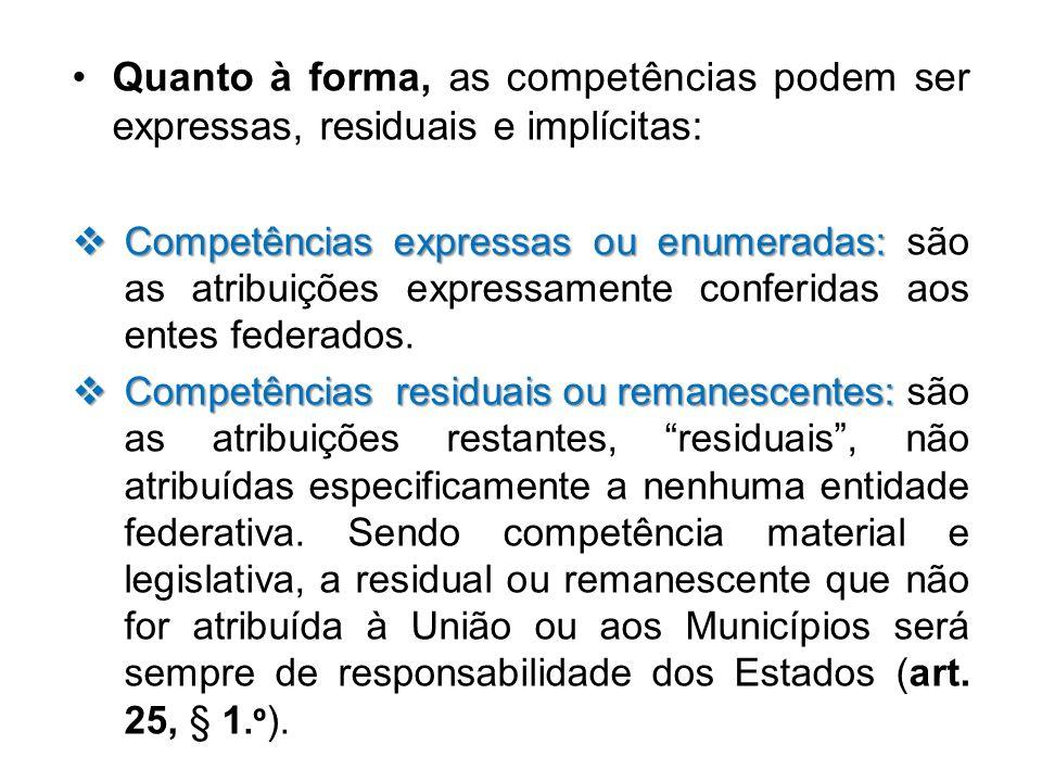 Quanto à forma, as competências podem ser expressas, residuais e implícitas: Competências expressas ou enumeradas: Competências expressas ou enumerada