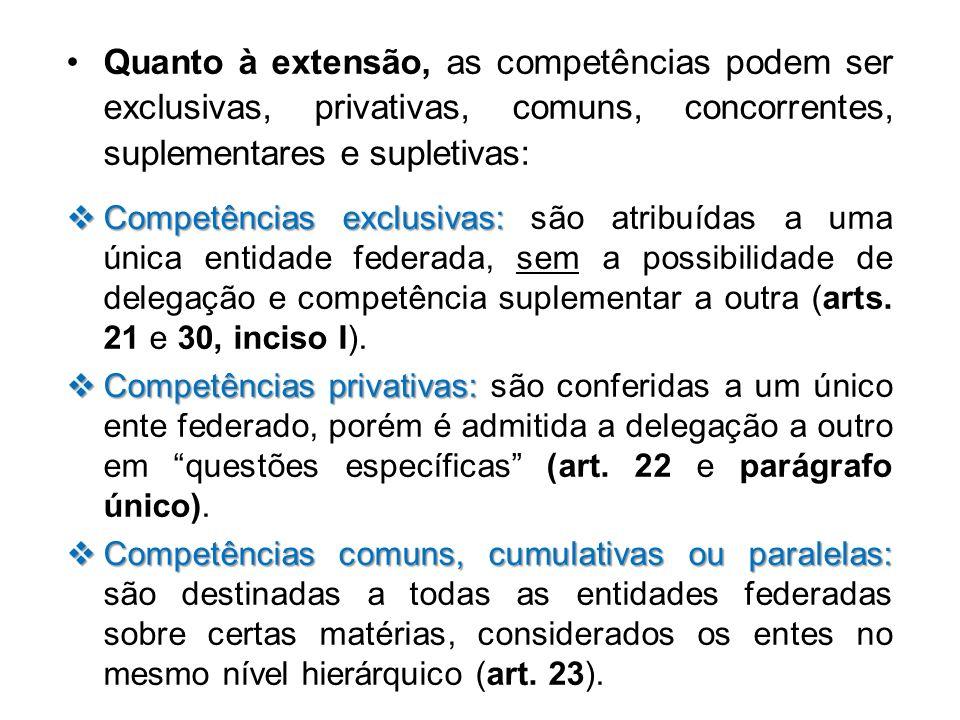 Quanto à extensão, as competências podem ser exclusivas, privativas, comuns, concorrentes, suplementares e supletivas: Competências exclusivas: Compet