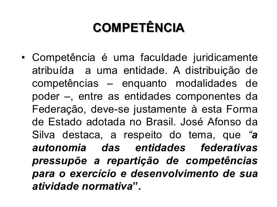 COMPETÊNCIA Competência é uma faculdade juridicamente atribuída a uma entidade. A distribuição de competências – enquanto modalidades de poder –, entr