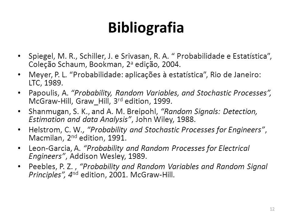 Bibliografia Spiegel, M. R., Schiller, J. e Srivasan, R. A. Probabilidade e Estatística, Coleção Schaum, Bookman, 2 a edição, 2004. Meyer, P. L. Proba