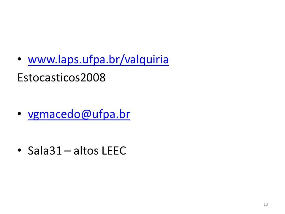 www.laps.ufpa.br/valquiria Estocasticos2008 vgmacedo@ufpa.br Sala31 – altos LEEC 13