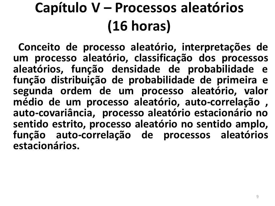 Capítulo V – Processos aleatórios (16 horas) Conceito de processo aleatório, interpretações de um processo aleatório, classificação dos processos alea