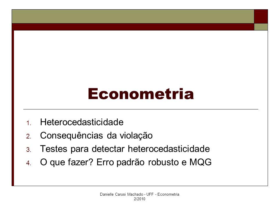 Econometria 1. Heterocedasticidade Danielle Carusi Machado - UFF - Econometria 2/2010
