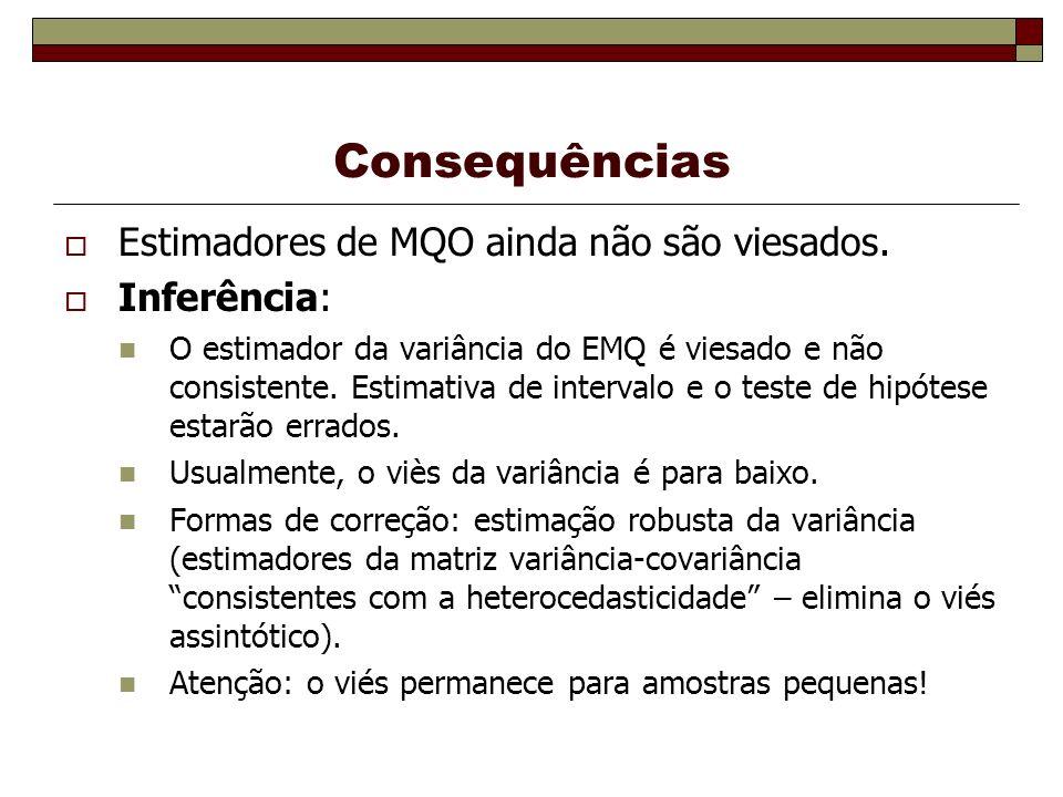 Consequências Eficiência: Apesar do EMQ ser não viesado, não é mais o estimador com variância mínima dentre todos estimadores lineares não viesados.