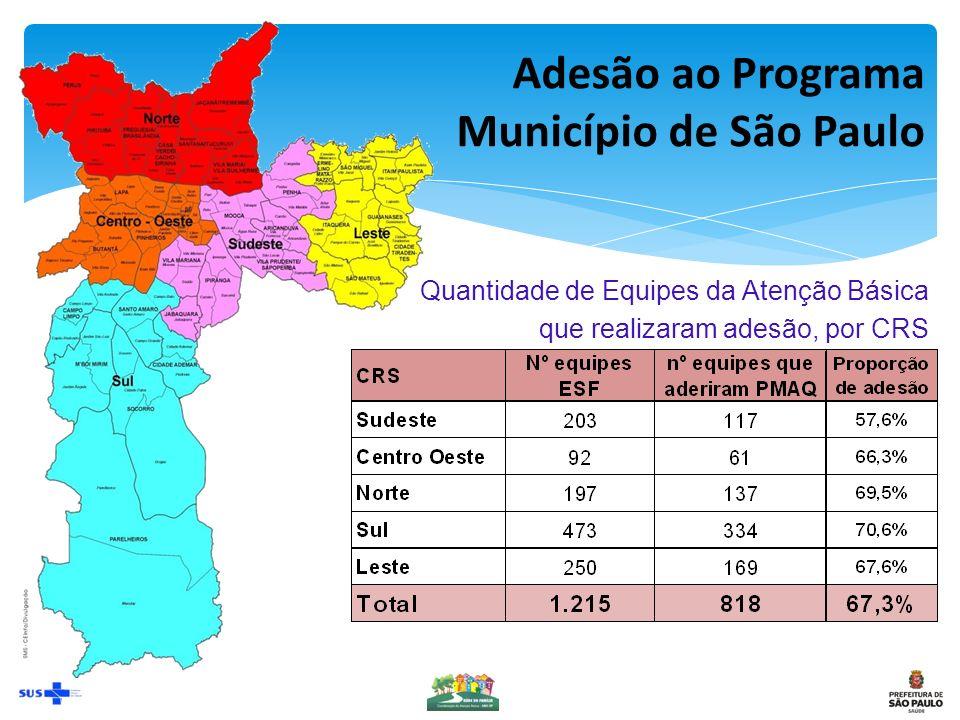Quantidade de Equipes da Atenção Básica que realizaram adesão, por CRS Adesão ao Programa Município de São Paulo