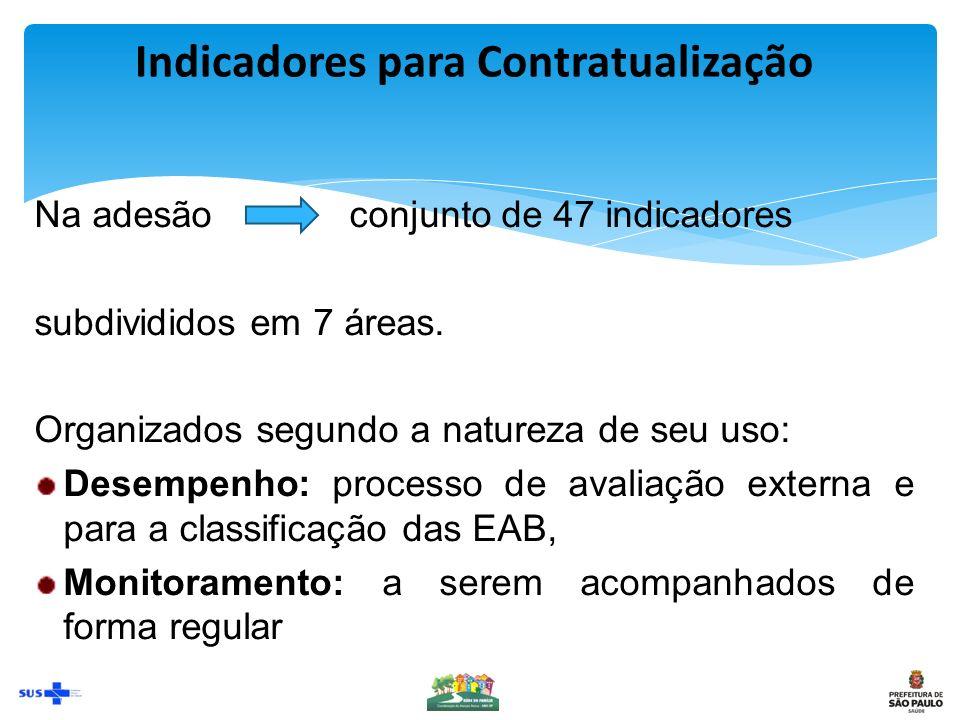Indicadores para Contratualização Na adesão conjunto de 47 indicadores subdivididos em 7 áreas.