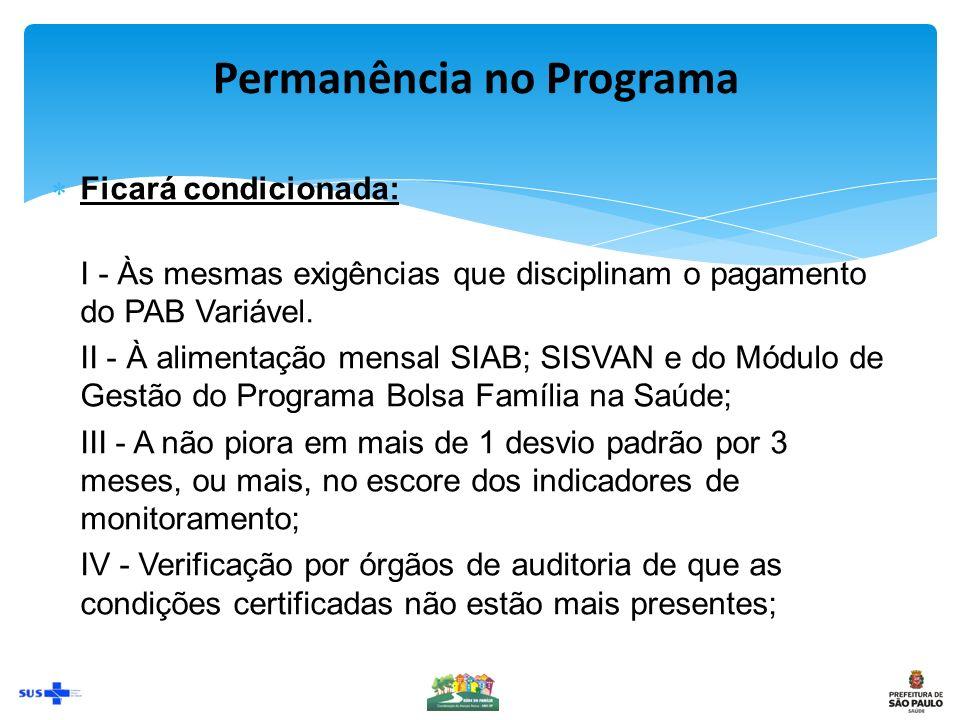 Permanência no Programa Ficará condicionada: I - Às mesmas exigências que disciplinam o pagamento do PAB Variável.
