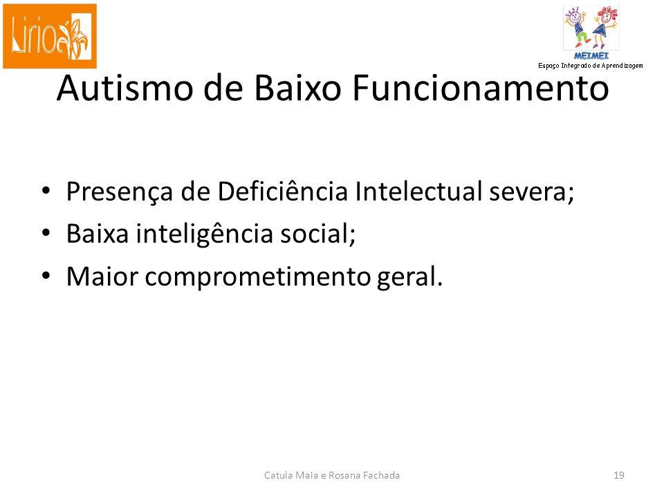Autismo de Baixo Funcionamento Presença de Deficiência Intelectual severa; Baixa inteligência social; Maior comprometimento geral.