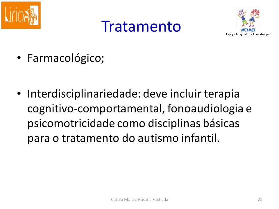 Farmacológico; Interdisciplinariedade: deve incluir terapia cognitivo-comportamental, fonoaudiologia e psicomotricidade como disciplinas básicas para o tratamento do autismo infantil.