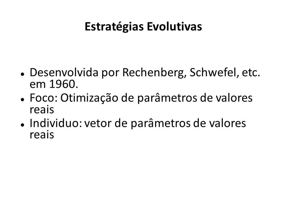 Estratégias Evolutivas Desenvolvida por Rechenberg, Schwefel, etc. em 1960. Foco: Otimização de parâmetros de valores reais Individuo: vetor de parâme
