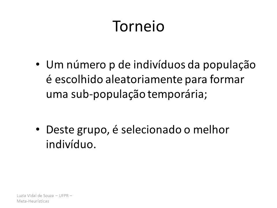 Luzia Vidal de Souza – UFPR – Meta-Heurísticas Torneio Um número p de indivíduos da população é escolhido aleatoriamente para formar uma sub-população temporária; Deste grupo, é selecionado o melhor indivíduo.