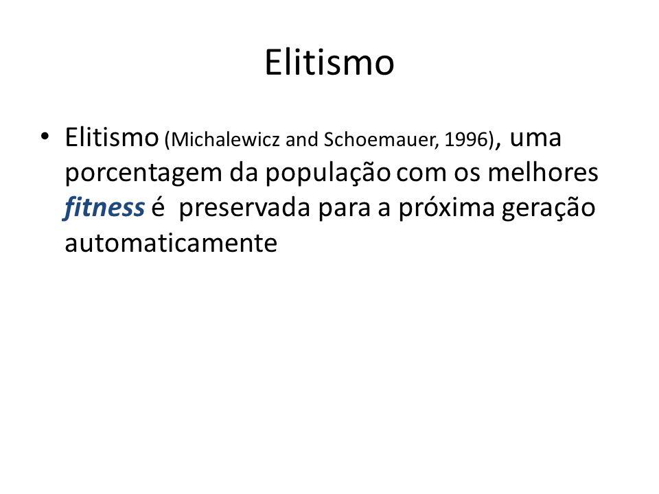 Elitismo Elitismo (Michalewicz and Schoemauer, 1996), uma porcentagem da população com os melhores fitness é preservada para a próxima geração automaticamente