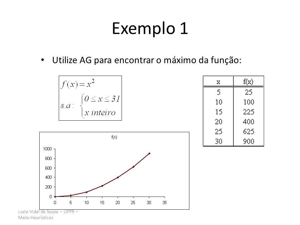 Luzia Vidal de Souza – UFPR – Meta-Heurísticas Exemplo 1 Utilize AG para encontrar o máximo da função: