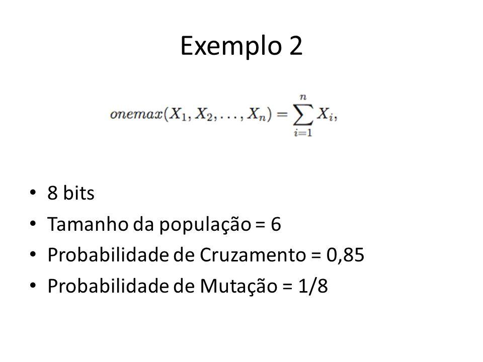 Exemplo 2 8 bits Tamanho da população = 6 Probabilidade de Cruzamento = 0,85 Probabilidade de Mutação = 1/8