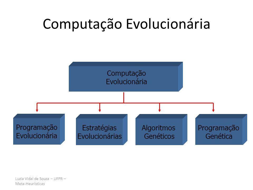 Luzia Vidal de Souza – UFPR – Meta-Heurísticas Computação Evolucionária Programação Evolucionária Estratégias Evolucionárias Algoritmos Genéticos Prog