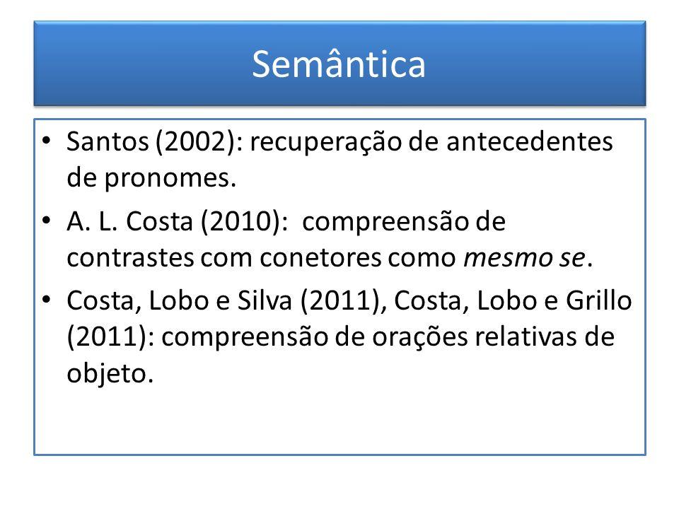 Semântica Santos (2002): recuperação de antecedentes de pronomes. A. L. Costa (2010): compreensão de contrastes com conetores como mesmo se. Costa, Lo