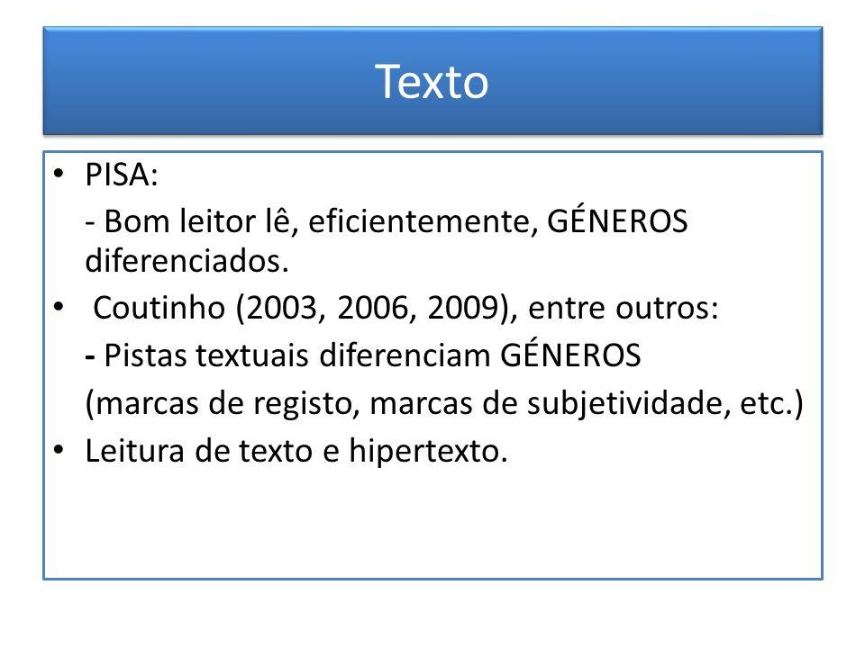 Texto PISA: - Bom leitor lê, eficientemente, GÉNEROS diferenciados. Coutinho (2003, 2006, 2009), entre outros: - Pistas textuais diferenciam GÉNEROS (