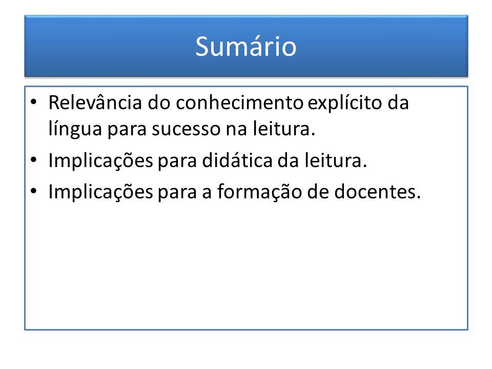 Sumário Relevância do conhecimento explícito da língua para sucesso na leitura. Implicações para didática da leitura. Implicações para a formação de d
