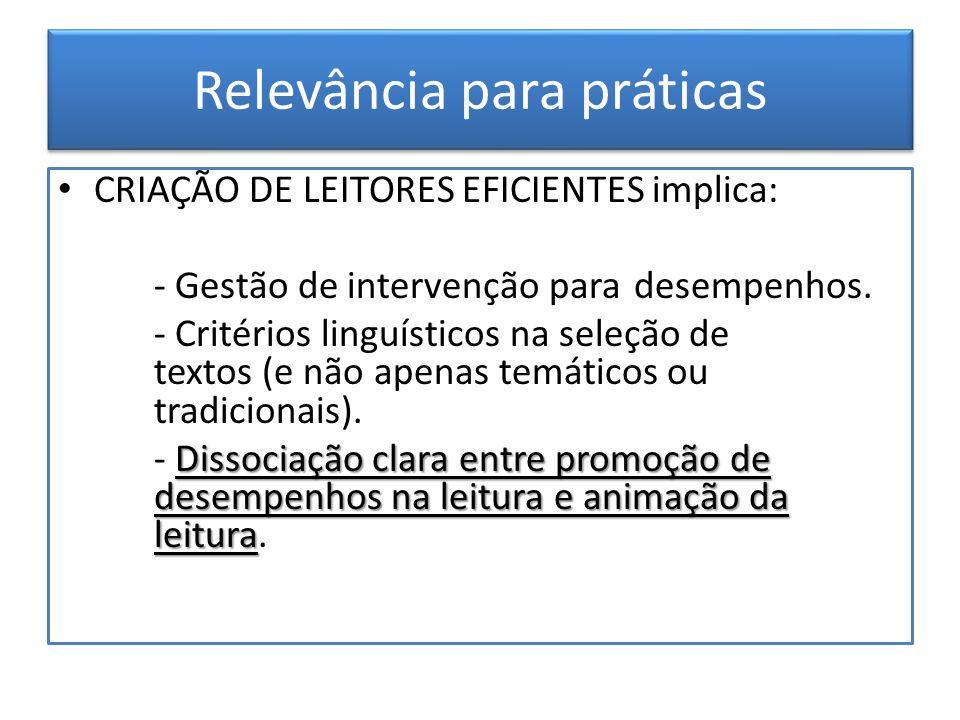 Relevância para práticas CRIAÇÃO DE LEITORES EFICIENTES implica: - Gestão de intervenção para desempenhos. - Critérios linguísticos na seleção de text