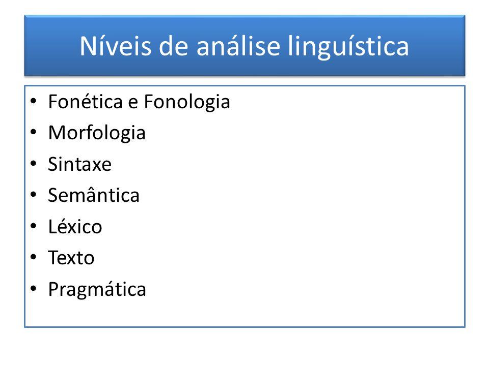 Níveis de análise linguística Fonética e Fonologia Morfologia Sintaxe Semântica Léxico Texto Pragmática