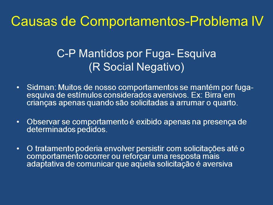 Causas de Comportamentos-Problema IV C-P Mantidos por Fuga- Esquiva (R Social Negativo) Sidman: Muitos de nosso comportamentos se mantém por fuga- esq