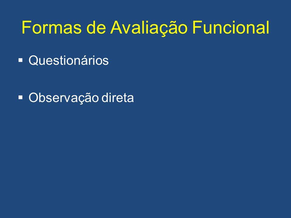 Formas de Avaliação Funcional Questionários Observação direta