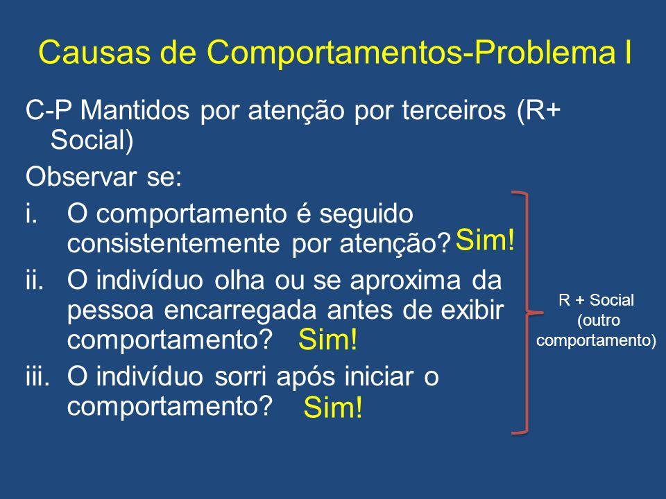 Causas de Comportamentos-Problema I C-P Mantidos por atenção por terceiros (R+ Social) Observar se: i.O comportamento é seguido consistentemente por atenção.