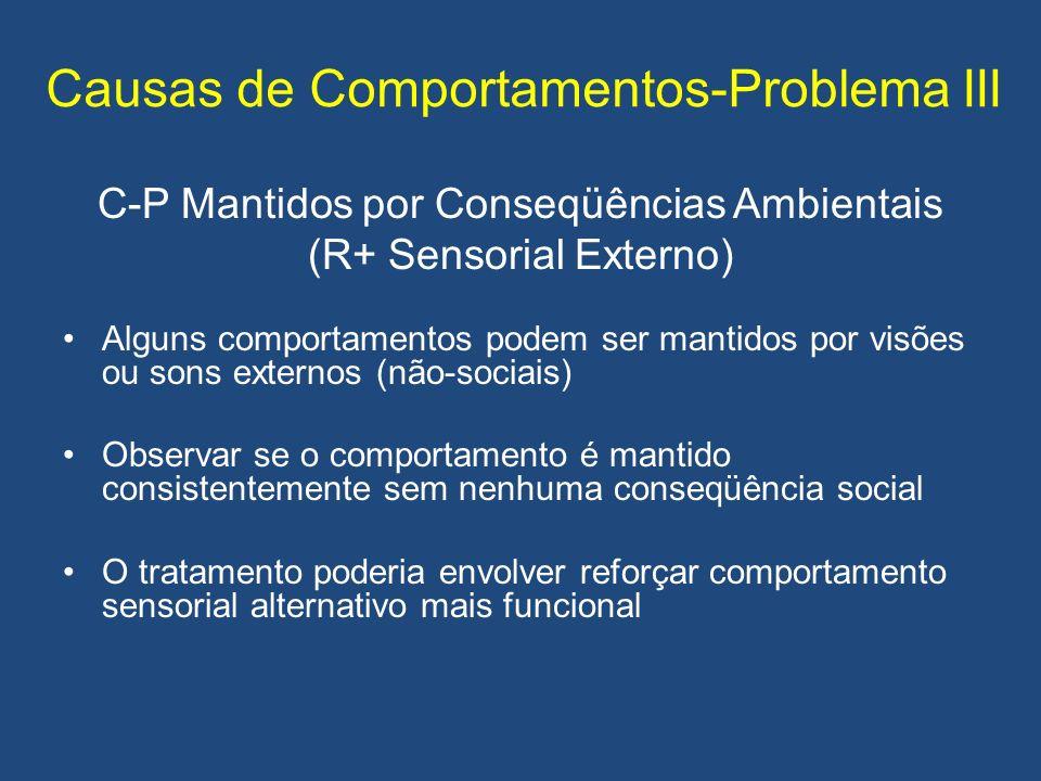 Causas de Comportamentos-Problema III C-P Mantidos por Conseqüências Ambientais (R+ Sensorial Externo) Alguns comportamentos podem ser mantidos por visões ou sons externos (não-sociais) Observar se o comportamento é mantido consistentemente sem nenhuma conseqüência social O tratamento poderia envolver reforçar comportamento sensorial alternativo mais funcional