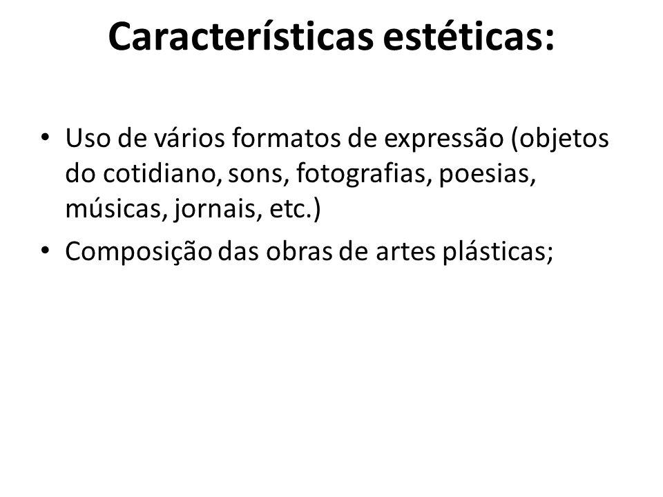 Características estéticas: Uso de vários formatos de expressão (objetos do cotidiano, sons, fotografias, poesias, músicas, jornais, etc.) Composição d