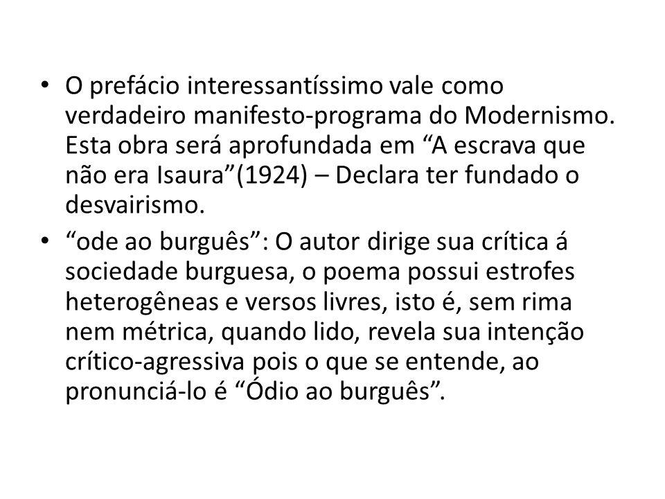 O prefácio interessantíssimo vale como verdadeiro manifesto-programa do Modernismo. Esta obra será aprofundada em A escrava que não era Isaura(1924) –