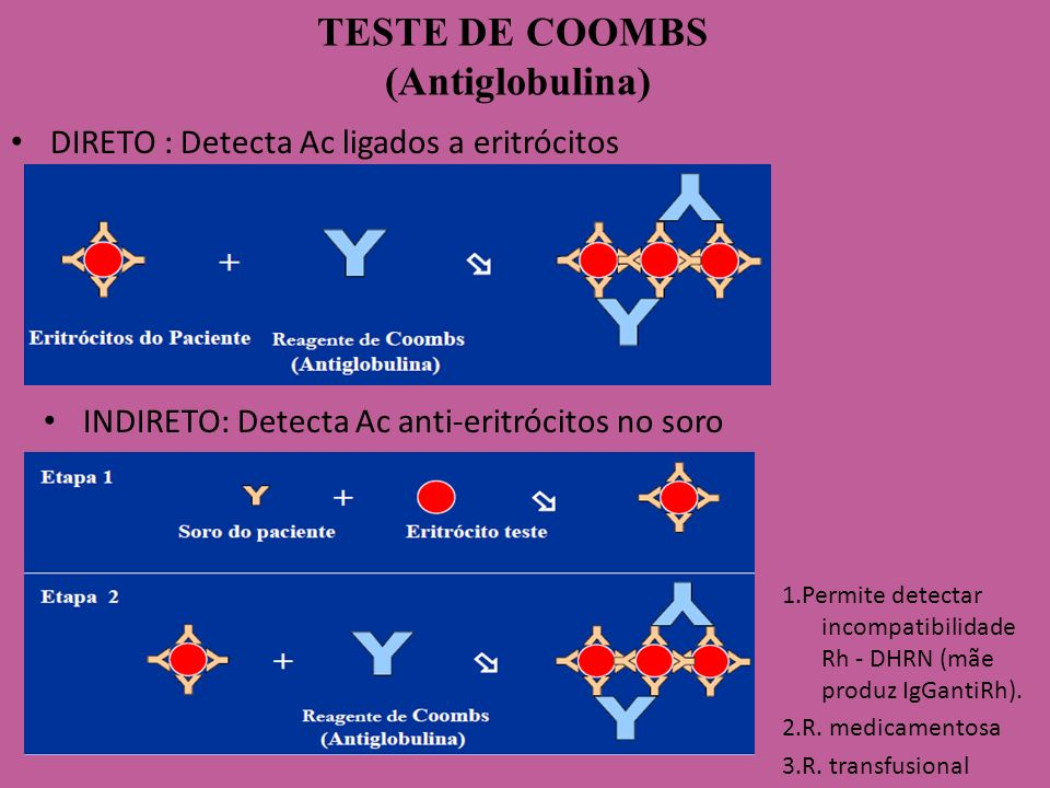 TESTE DE COOMBS (Antiglobulina) DIRETO : Detecta Ac ligados a eritrócitos INDIRETO: Detecta Ac anti-eritrócitos no soro 1.Permite detectar incompatibi