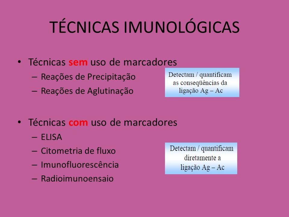 TÉCNICAS IMUNOLÓGICAS PRECIPITAÇÃO - Imunodifusão dupla - Imunodifusão radial - Imunoeletroforese AGLUTINAÇÃO - Aglutinação direta e indireta - Inibição da aglutinação - Teste de Coombs IMUNOENSAIOS - Radioimunoensaio - ELISA - Imunofluorescência - Citometria de Fluxo PRECIPITAÇÃO X AGLUTINAÇÃO