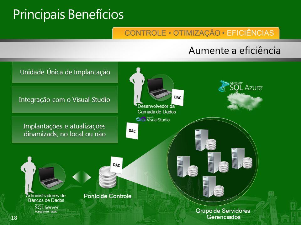 18 Unidade Única de Implantação Implantações e atualizações dinamizads, no local ou não Principais Benefícios Management Studio Administradores de Bancos de Dados Ponto de Controle Grupo de Servidores Gerenciados Aumente a eficiência Integração com o Visual Studio Desenvolvedor da Camada de Dados
